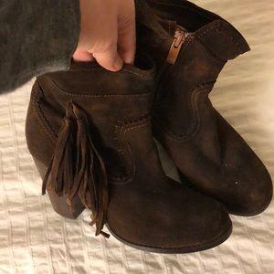 Dark brown suede booties w/ tassels